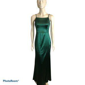 Emerald Green Stretch Satin Evening Gown